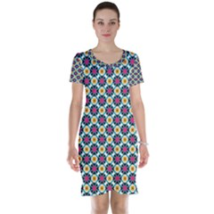 Cute Abstract Pattern Background Short Sleeve Nightdresses