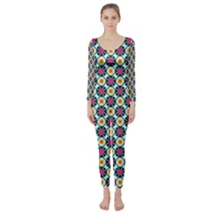Cute abstract Pattern background Long Sleeve Catsuit