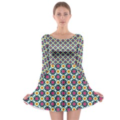 Cute Abstract Pattern Background Long Sleeve Skater Dress
