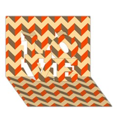 Modern Retro Chevron Patchwork Pattern  Love 3d Greeting Card (7x5)