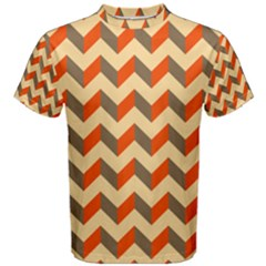 Modern Retro Chevron Patchwork Pattern  Men s Cotton Tees