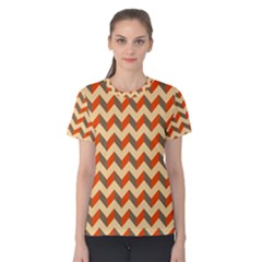 Modern Retro Chevron Patchwork Pattern  Women s Cotton Tees