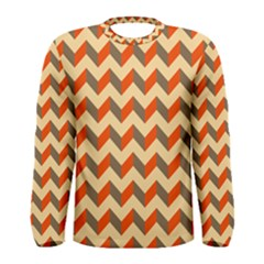 Modern Retro Chevron Patchwork Pattern  Men s Long Sleeve T-shirts