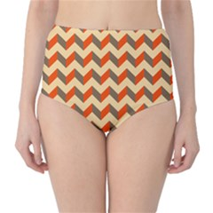 Modern Retro Chevron Patchwork Pattern  High-Waist Bikini Bottoms