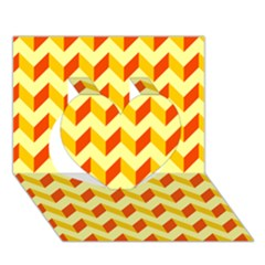Modern Retro Chevron Patchwork Pattern  Heart 3D Greeting Card (7x5)