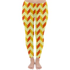 Modern Retro Chevron Patchwork Pattern  Winter Leggings