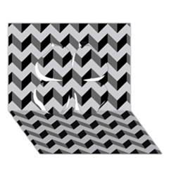 Modern Retro Chevron Patchwork Pattern  Clover 3D Greeting Card (7x5)