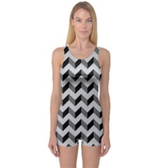 Modern Retro Chevron Patchwork Pattern  Women s Boyleg One Piece Swimsuits