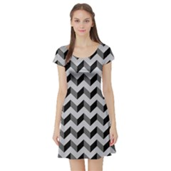 Modern Retro Chevron Patchwork Pattern  Short Sleeve Skater Dresses