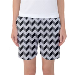 Modern Retro Chevron Patchwork Pattern  Women s Basketball Shorts