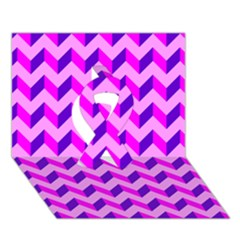 Modern Retro Chevron Patchwork Pattern Ribbon 3D Greeting Card (7x5)