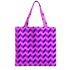 Modern Retro Chevron Patchwork Pattern Zipper Grocery Tote Bags