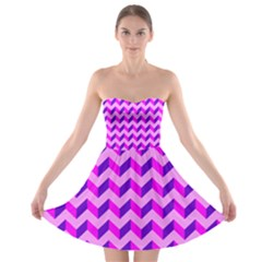 Modern Retro Chevron Patchwork Pattern Strapless Bra Top Dress