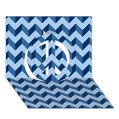 Modern Retro Chevron Patchwork Pattern Peace Sign 3D Greeting Card (7x5)
