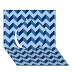 Modern Retro Chevron Patchwork Pattern Circle 3D Greeting Card (7x5)