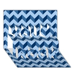 Modern Retro Chevron Patchwork Pattern You Rock 3D Greeting Card (7x5)