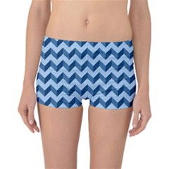 Modern Retro Chevron Patchwork Pattern Reversible Boyleg Bikini Bottoms