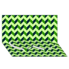Modern Retro Chevron Patchwork Pattern Twin Heart Bottom 3D Greeting Card (8x4)