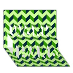 Modern Retro Chevron Patchwork Pattern WORK HARD 3D Greeting Card (7x5)