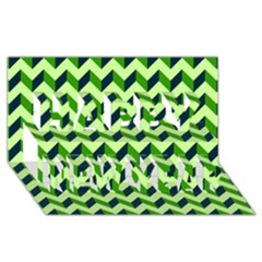 Modern Retro Chevron Patchwork Pattern Happy New Year 3D Greeting Card (8x4)