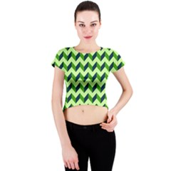 Modern Retro Chevron Patchwork Pattern Crew Neck Crop Top