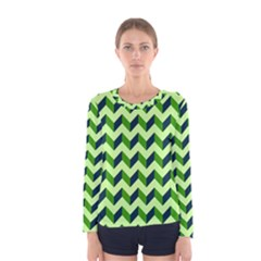 Modern Retro Chevron Patchwork Pattern Women s Long Sleeve T-shirts