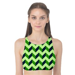 Modern Retro Chevron Patchwork Pattern Tank Bikini Top