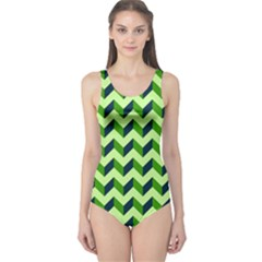Modern Retro Chevron Patchwork Pattern Women s One Piece Swimsuits