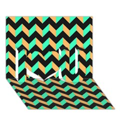 Modern Retro Chevron Patchwork Pattern I Love You 3D Greeting Card (7x5)