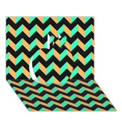 Modern Retro Chevron Patchwork Pattern Apple 3D Greeting Card (7x5)