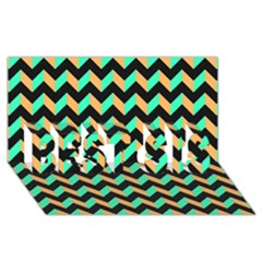 Modern Retro Chevron Patchwork Pattern Best Sis 3d Greeting Card (8x4)