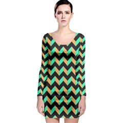 Modern Retro Chevron Patchwork Pattern Long Sleeve Bodycon Dresses