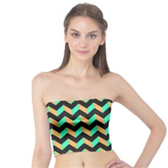 Modern Retro Chevron Patchwork Pattern Women s Tube Tops