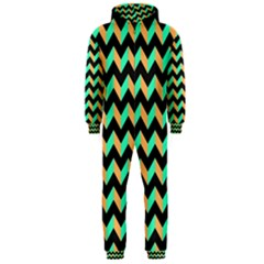 Modern Retro Chevron Patchwork Pattern Hooded Jumpsuit (Men)