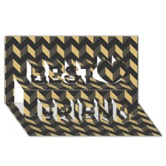 Modern Retro Chevron Patchwork Pattern Best Friends 3D Greeting Card (8x4)