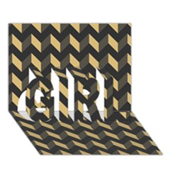 Modern Retro Chevron Patchwork Pattern GIRL 3D Greeting Card (7x5)