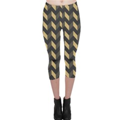 Modern Retro Chevron Patchwork Pattern Capri Leggings
