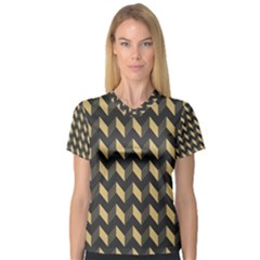 Modern Retro Chevron Patchwork Pattern Women s V Neck Sport Mesh Tee