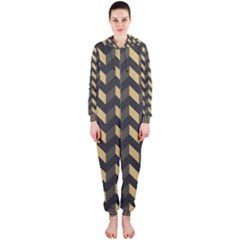 Modern Retro Chevron Patchwork Pattern Hooded Jumpsuit (Ladies)