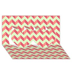 Modern Retro Chevron Patchwork Pattern Twin Hearts 3d Greeting Card (8x4)