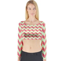 Modern Retro Chevron Patchwork Pattern Long Sleeve Crop Top