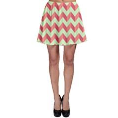Modern Retro Chevron Patchwork Pattern Skater Skirts
