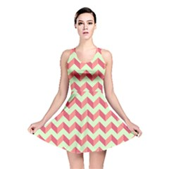 Modern Retro Chevron Patchwork Pattern Reversible Skater Dresses