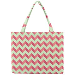 Modern Retro Chevron Patchwork Pattern Tiny Tote Bags