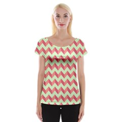 Modern Retro Chevron Patchwork Pattern Women s Cap Sleeve Top