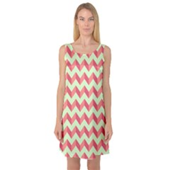 Modern Retro Chevron Patchwork Pattern Sleeveless Satin Nightdresses