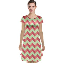 Modern Retro Chevron Patchwork Pattern Cap Sleeve Nightdresses