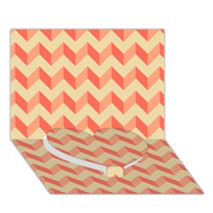 Modern Retro Chevron Patchwork Pattern Heart Bottom 3d Greeting Card (7x5)