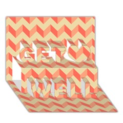 Modern Retro Chevron Patchwork Pattern Get Well 3D Greeting Card (7x5)