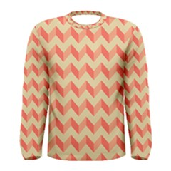 Modern Retro Chevron Patchwork Pattern Men s Long Sleeve T Shirts